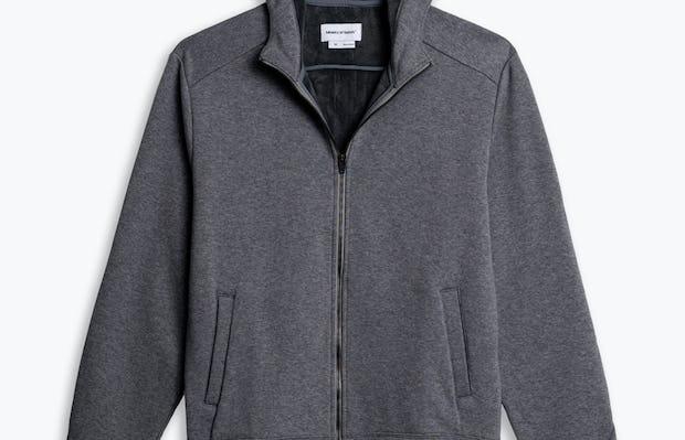 men's granite heather full zip hoodie flat shot of front hood up