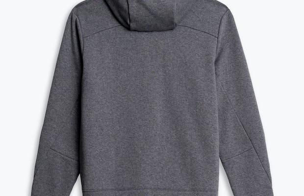 men's granite heather full zip hoodie flat shot of back hood down
