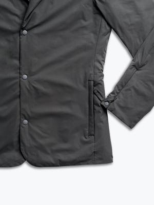 men's charcoal kinetic light layer zoomed shot of cuff, buttons and pocket