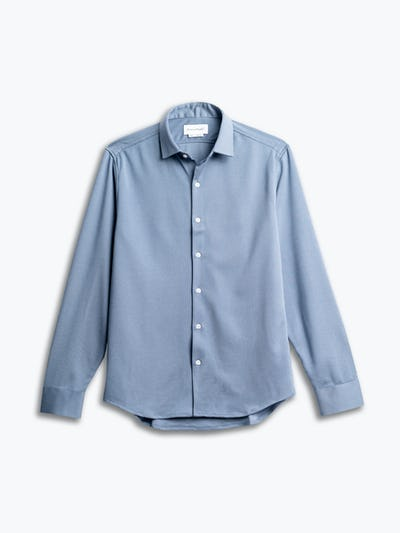 men's deep sky blue oxford apollo shirt flat shot of front