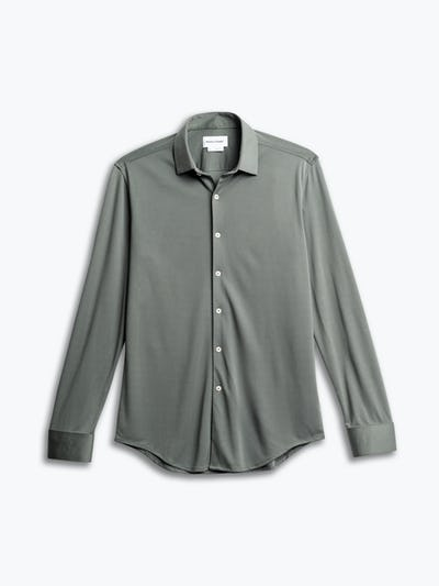 men's olive solid apollo shirt flat shot of front