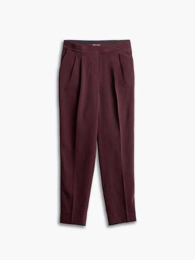 women's deep ruby swift drape pant flat shot of front