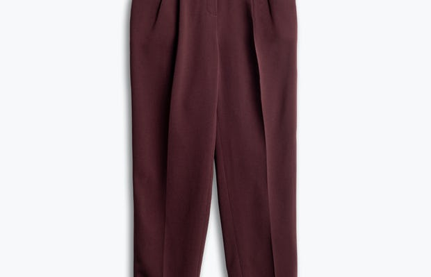 women's deep ruby swift drape pant flat shot of front