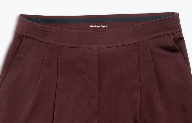 women's deep ruby swift drape pant zoomed shot of front
