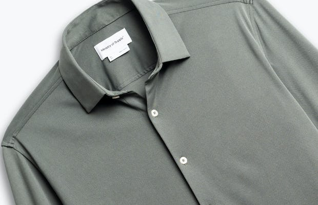 men's olive solid apollo shirt zoomed shot of front