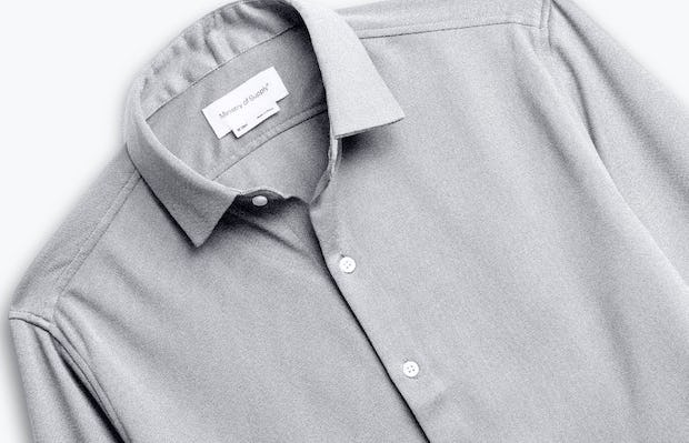 men's grey white heather apollo shirt zoomed shot of front