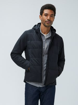 men's black mercury jacket model facing forward hands in pockets