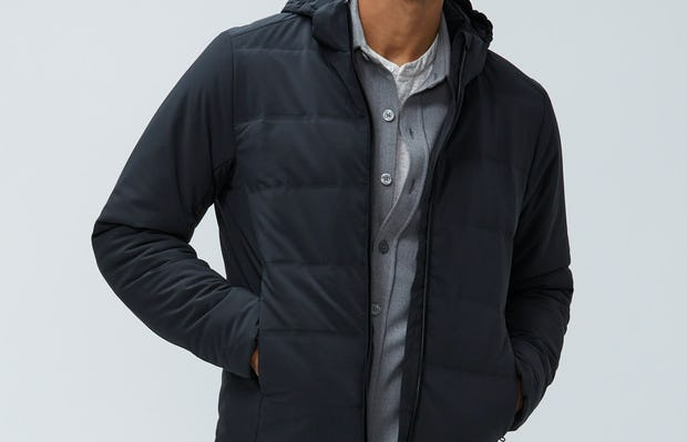 men's black mercury jacket model facing forward hands in pockets