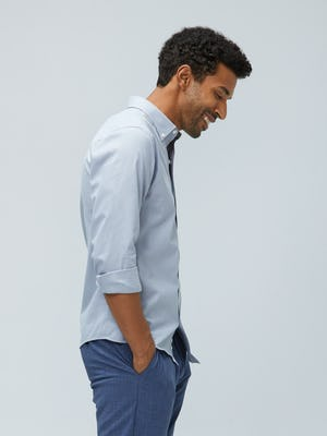 Men's Grey Heather Houndstooth Aero Button Down on model facing right