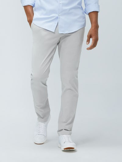 Close up of Men's Light Khaki Momentum Chino on model