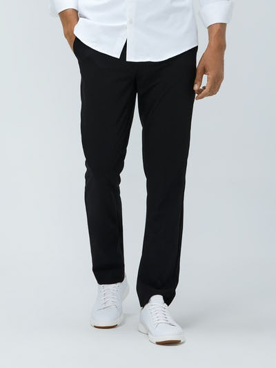 Close up of Men's Black Velocity Pant on model