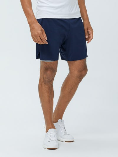 Close up of Men's Navy Newton Active Short on model