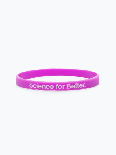 purple science for better vaccine awareness bracelet showing the science for better side