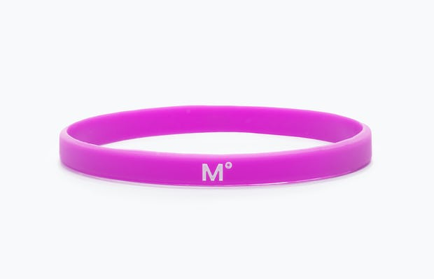 purple science for better vaccine awareness bracelet showing the M° logo