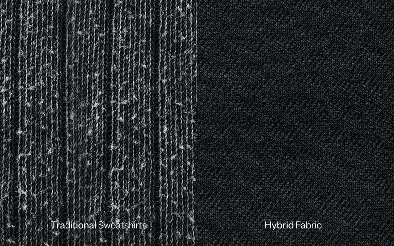 Close-up of Traditional Fabric versus Hybrid Fleece Fabric