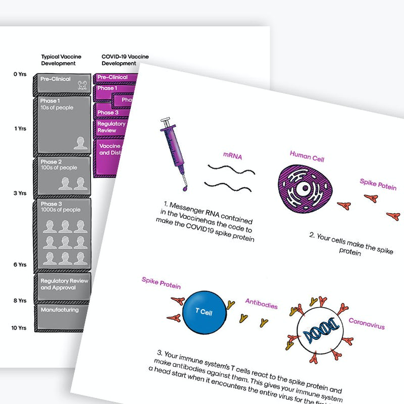 illustrated covid-19 vaccine info cards