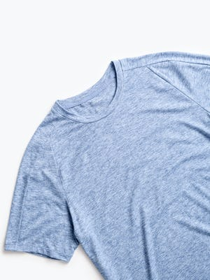 men's chambray blue composite merino active tee zoomed shot of front