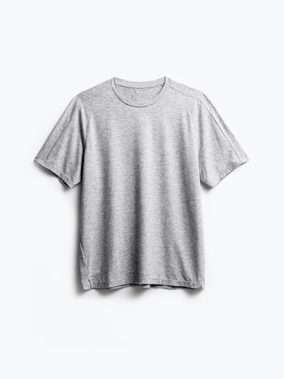men's charcoal grey heather composite merino active tee flat shot of front