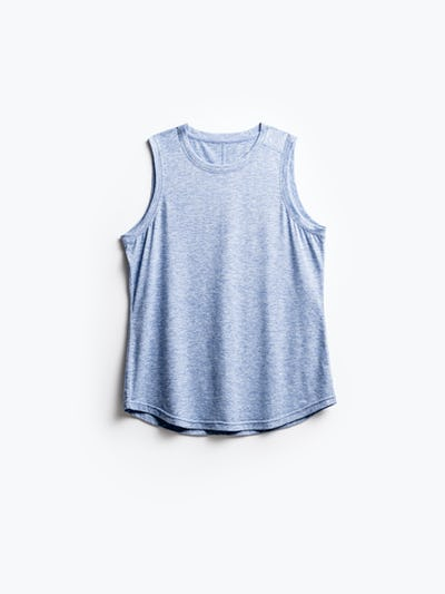 women's chambray blue composite merino active tank flat shot of front
