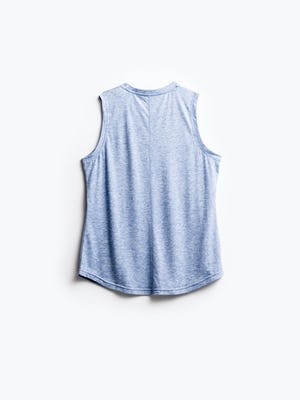 women's chambray blue composite merino active tank flat shot of back