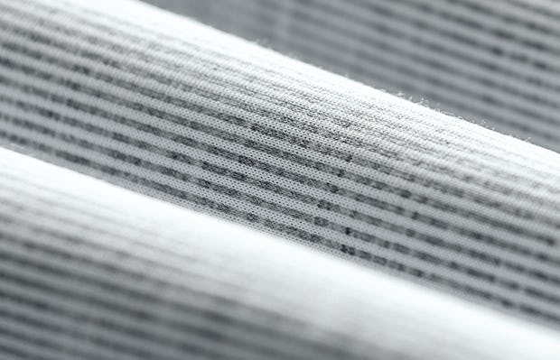 men's grey heather stripe hybrid button down fabric roll