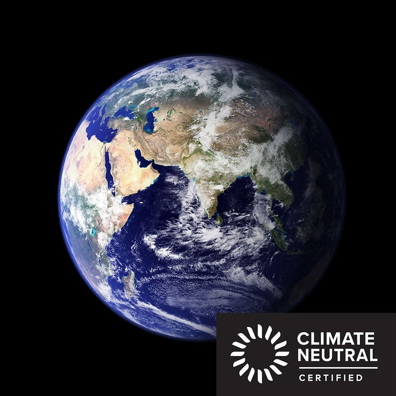 Photo of the earth from space with a Climate Neural Certified Logo in the corner