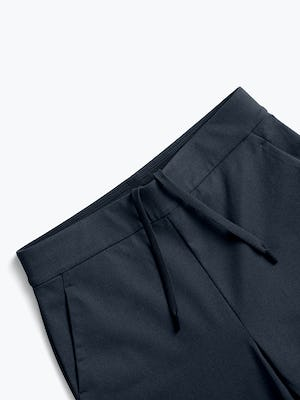 women's navy kinetic pull on pant close up of waistband and drawcord
