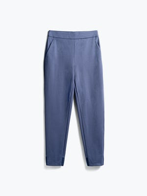women's slate blue kinetic pull on pant flat shot of front