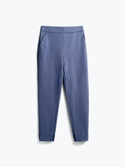 women's slate blue kinetic pull on pant flat shot of front