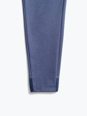 women's slate blue kinetic pull on pant close up of clean front cuff