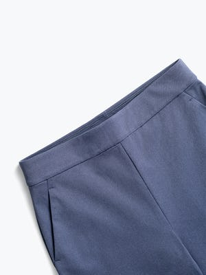 women's slate blue kinetic pull on pant close up of waistband