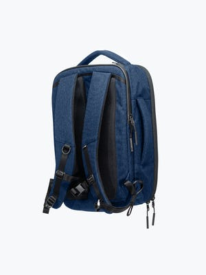 navy aer lunar pack shot of back showing straps and top and side carry handles
