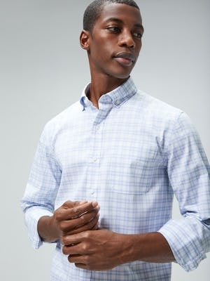 Men's Blue Dot Matrix Aero Button Down on model looking right