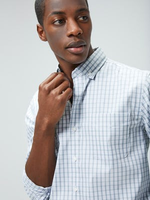 Men's Blue Grey Tattersall Aero Button Down on model looking right