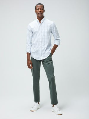 Men's Grey Blue Plaid Aero Button Down and Men's Sage Momentum Chino on model facing forward