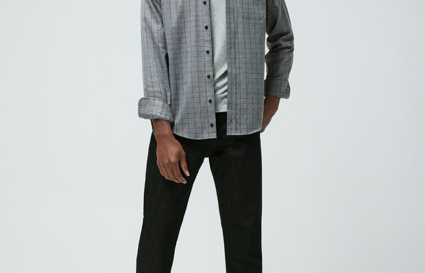Men's Stone Grey Fusion Chore Coat and Men's Black Chroma Denim on model facing forward