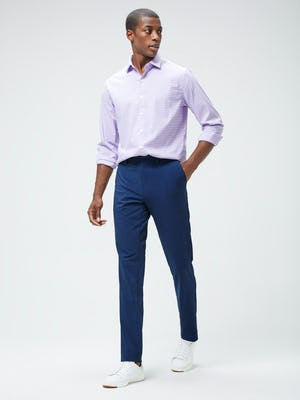Men's Lavender Quad Grid Aero Shirt and Men's Indigo Heather Velocity Pant on model walking forward