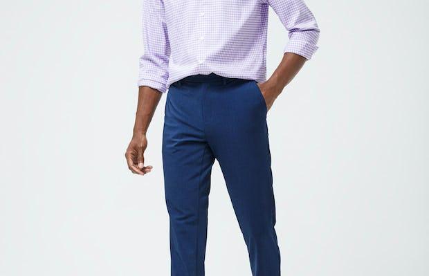 Men's Lavender Quad Grid Aero Shirt and Men's Indigo Heather Velocity Pant on model walking forward