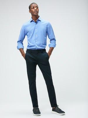 Men's Blue Grid Aero Zero Carbon Neutral Shirt and Men's Navy Kinetic Slim Pant on model facing forward