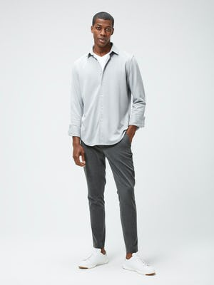 Men's Grey White Heather Apollo Brushed Shirt and Men's Graphite Velocity Tapered Pant on model facing forward