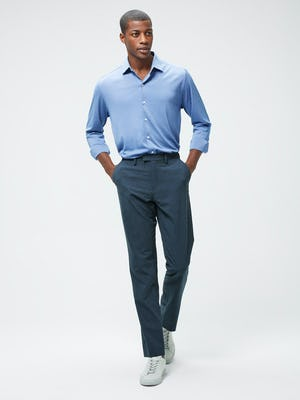 Men's Ocean Oxford Apollo Brushed Shirt and Men's Blue Houndstooth Velocity Houndstooth Pant on model with hands in pockets