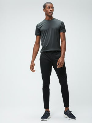 Men's Black Responsive Crew Neck Tee and Men's Black Kinetic Tapered Pant on model facing forward