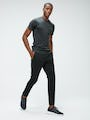 Men's Black Responsive Crew Neck Tee and Men's Black Kinetic Tapered Pant on model walking right