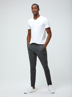 Men's White Responsive V-Neck Tee and Men's Graphite Velocity Tapered Pant on Model facing forward