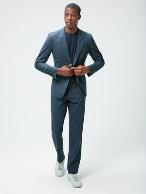 Men's Blue Houndstooth Velocity Houndstooth Pant and Blue Houndstooth Velocity Houndstooth Blazer on model walking forward