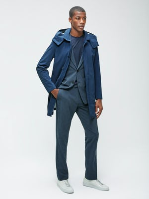 Men's Blue Houndstooth Velocity Houndstooth Pant and Blue Houndstooth Velocity Houndstooth Blazer on model with Men's Navy Doppler Waterproof Mac Raincoat on model with hand in pocket