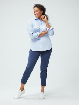 Women's Chambray Blue Aero Zero Boyfriend Shirt and Women's Slate Blue Kinetic Pull-On Pant on model facing forward