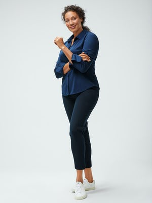 Women's Navy Apollo Shirt and Women's Navy Kinetic Pull-On Pant on model right left