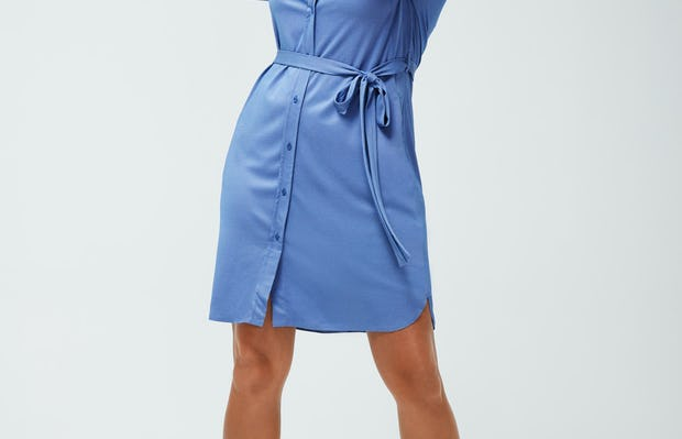 Women's Ocean Heather Apollo Shirt Dress on model adjusting hair