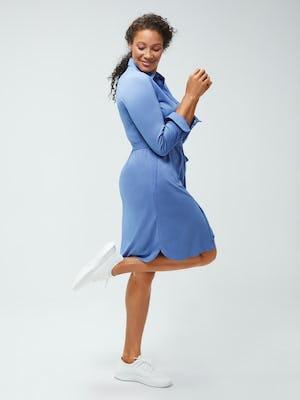 Women's Ocean Heather Apollo Shirt Dress on model facing right kicking up leg